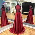 Shining Two Piece Red Long Prom Dresses 2017 Satin Beading High Neck Open Back Woman Evening Party Gown Real Photo