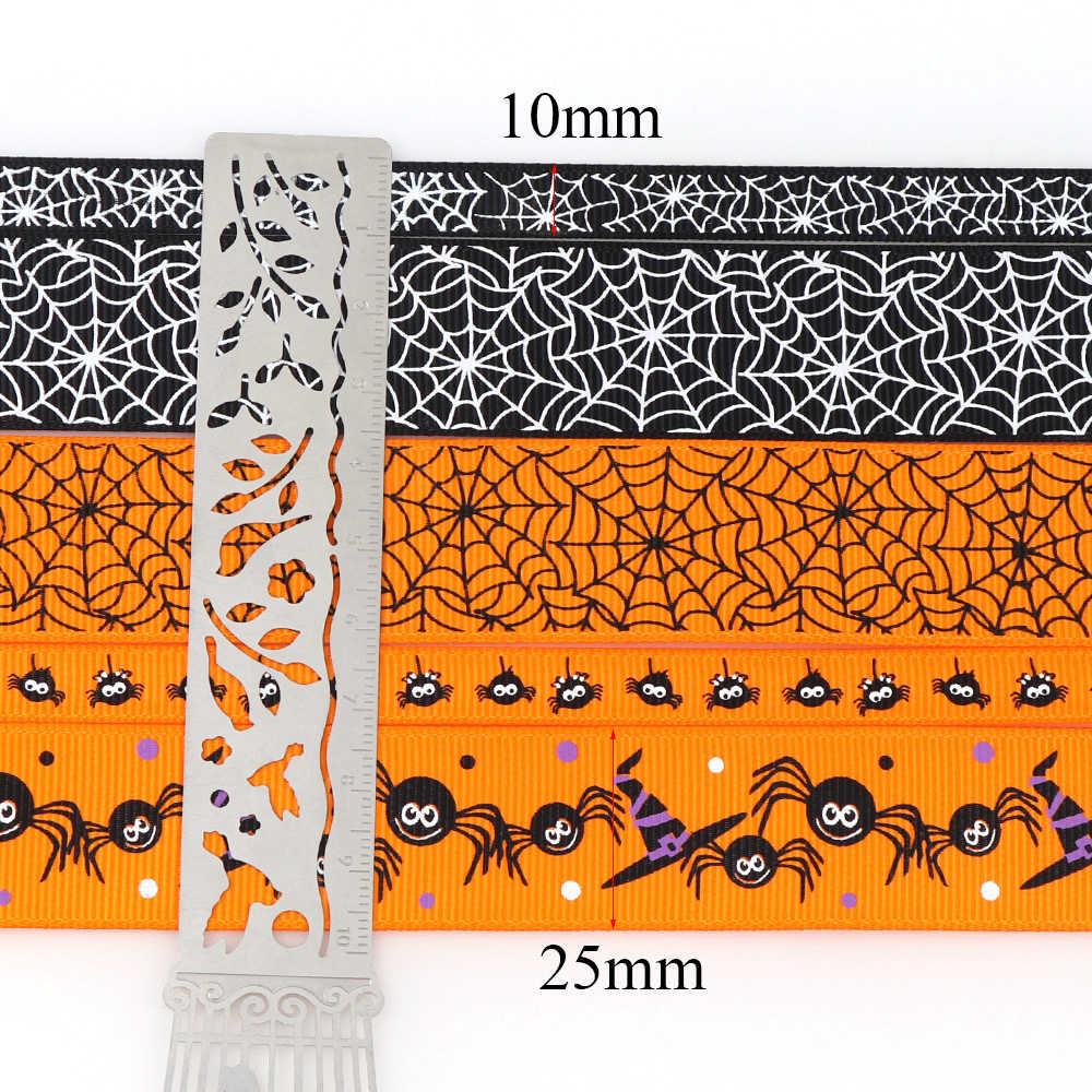 5Y/dużo motyw halloween ryps wstążka dyniowy duch 25/10mmPrinted wstążka dekoracje świąteczne materiały tekstylia domowe wstążka