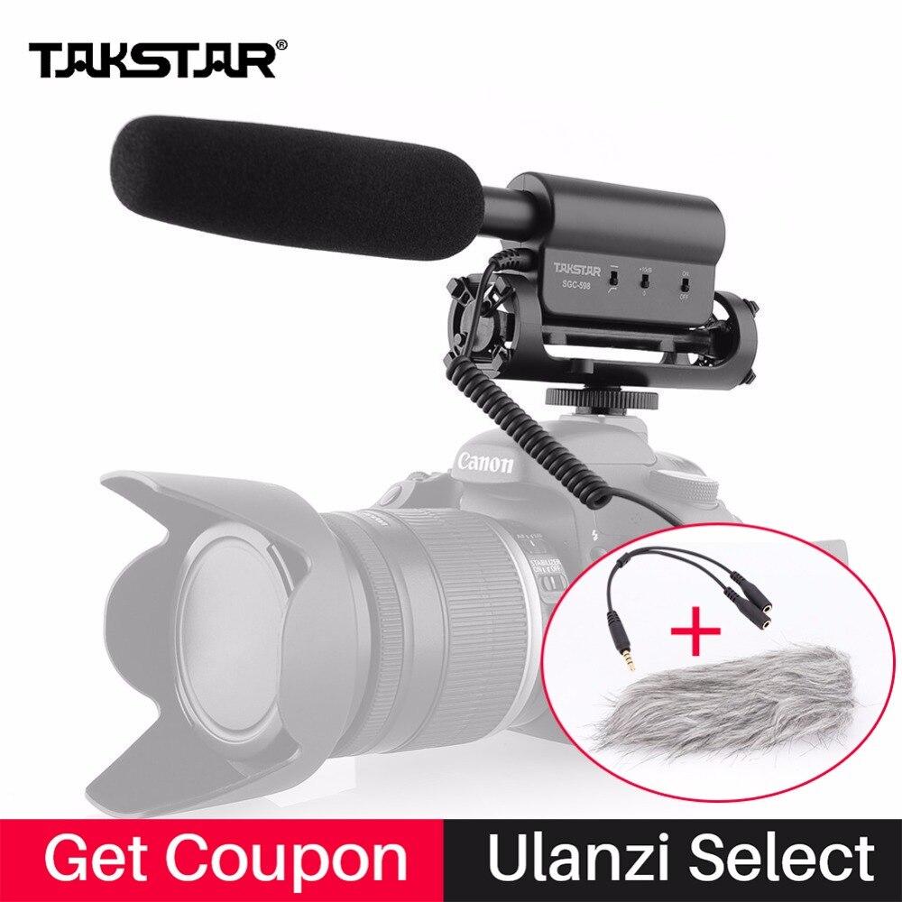 Micrófono condensador Takstar SGC-598 entrevista vídeo grabación Mic para Nikon Canon cámara DSLR Vlog Mic sgc 598 filmación