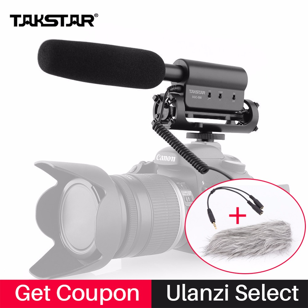 Takstar SGC-598 Condenser Microphone Interview Video Recording Camera Mic for Nikon Canon DSLR Youtube Live Vlogging sgc 598