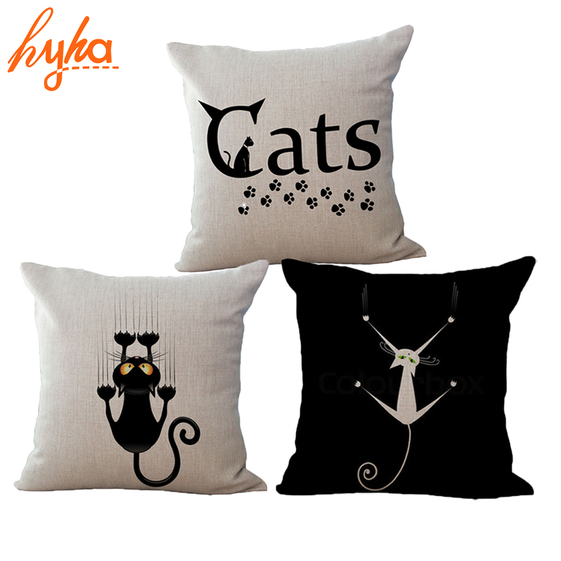 Cat Cushion Funny Black Cotton Linen Throw Pillow Car Sofa Bedroom Home Decorative Cushion