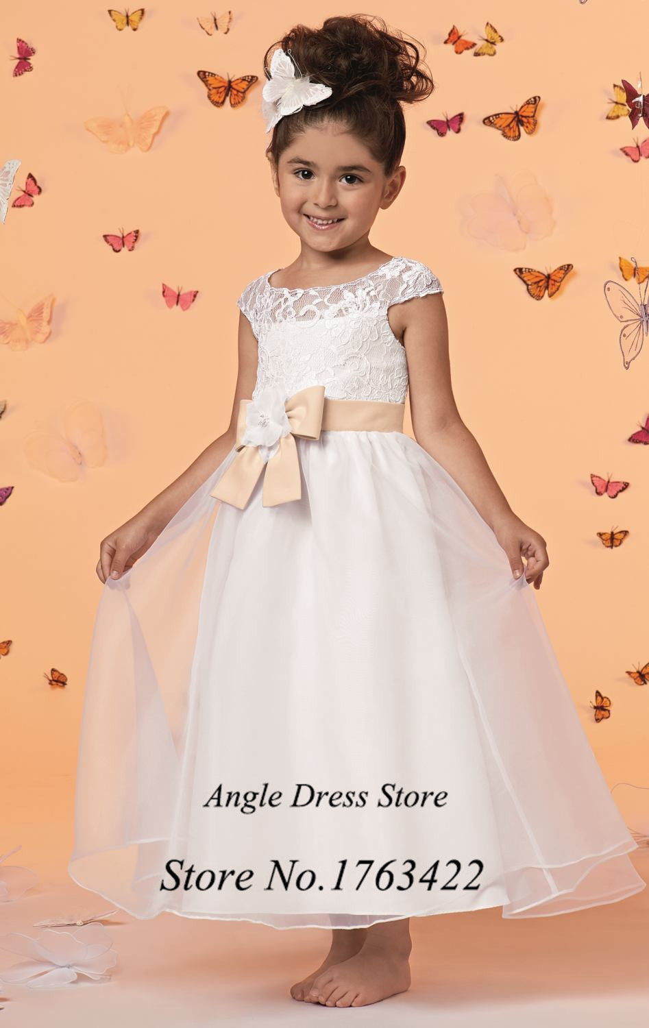 White Lace Baby Flower Girl Dresses For Weddings Champagne Bow