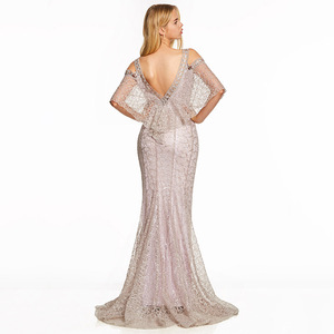 Image 2 - Dressv pink a line long evening dress backless cheap straps half sleeves wedding party formal dress lace evening dresses