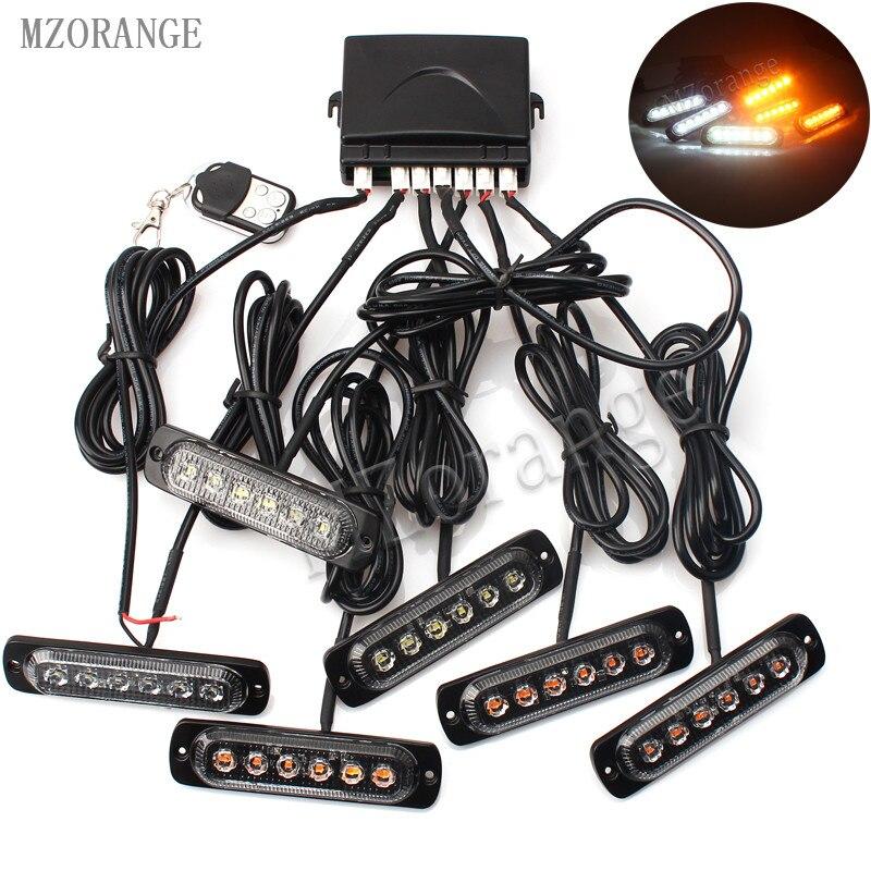 MZORANGE 6pc 6 LED Waterproof 12 24V Remote controller Car Truck Emergency Warning LED Strobe Flash