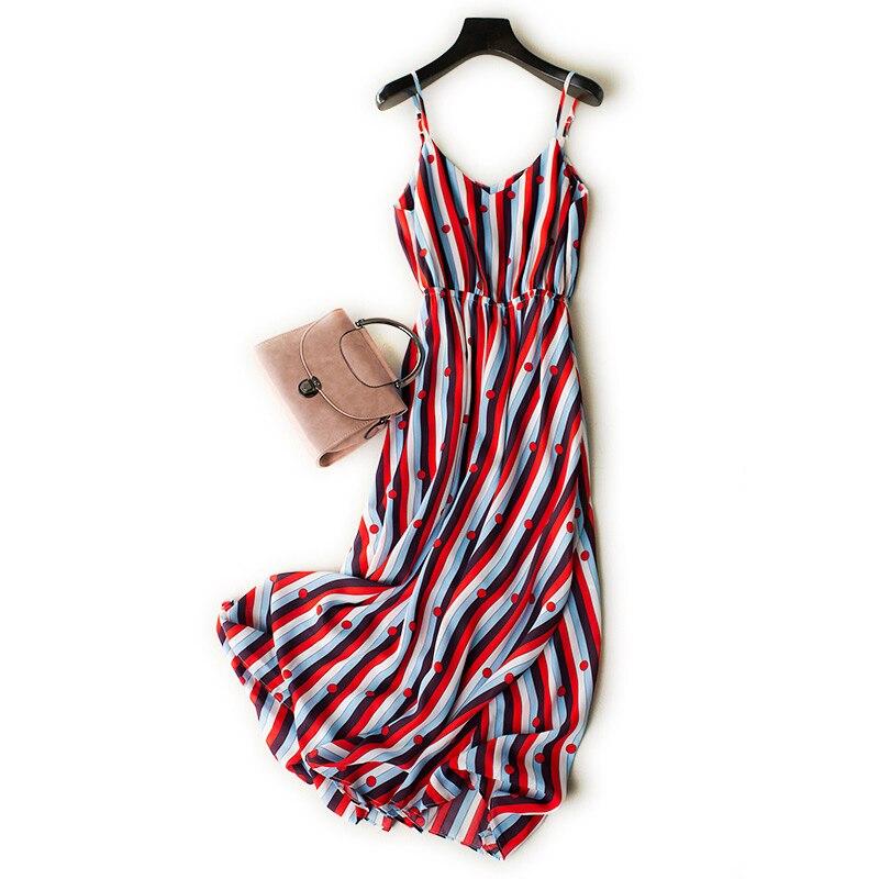 Plage limitée jupe femme été 2018 nouvelle île de Bali bord de mer vacances spectacle mince bohême longue fée robe en mousseline de soie