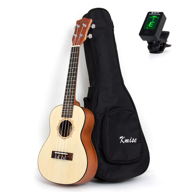 Kmise Concert Ukulele Solid Spruce Ukelele Uke 23 inch 18 Frets 4 String Hawaii Guitar with Gig Bag Tuner kmise soprano ukulele mahogany ukelele uke 21 inch with gig bag tuner strap string capo sand shaker cleaning cloth beginner kit