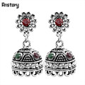 Vintage Turkish Dangle Bell Pendant Sunflower Earrings Stud Antique Sliver Plated Resin Crystal Fashion Jewelry TE377