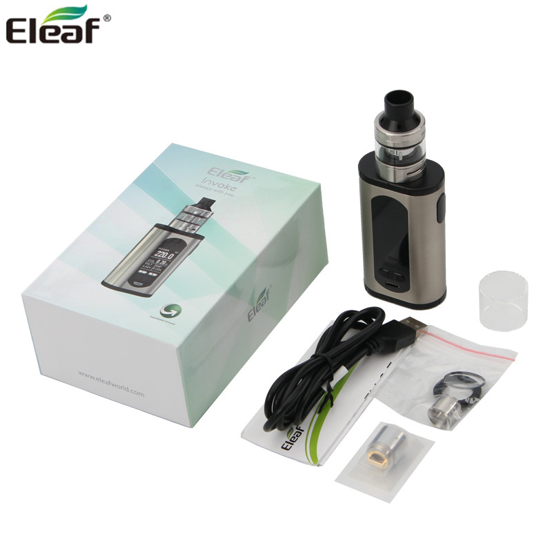 Original Electonic Cigarettes Eleaf Invoke Kit Invoke Mod Box 220W with ELLO T Tank 2ml/4ml Eleaf Vaporizer elektronik sigara original eleaf invoke 220w with ello t tc kit with 2ml ello t tank extendable to 4ml