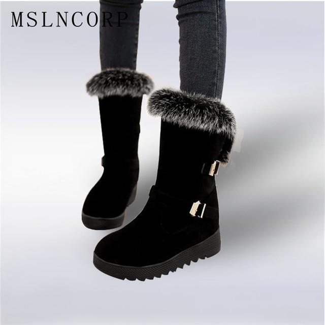 New 2018 Autumn Winter warm Snow Boots Shoes Rabbit Fur Women Platform Fashion  Women s Boots ladies Woman Ankle Botas Size 34-43 1b53217ea8b6