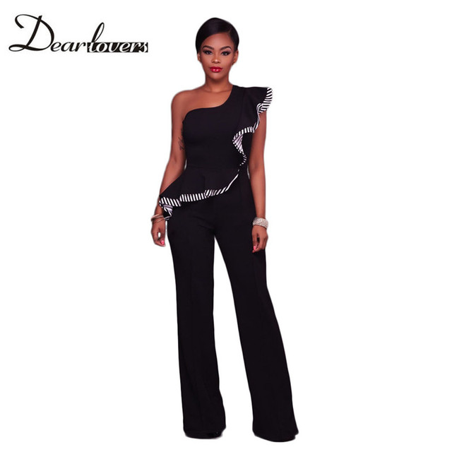 7dc287ae67ed Dear lover Black One Shoulder Falbala Design Jumpsuits LC64334 Elegant  Rompers Womens Jumpsuit 2017