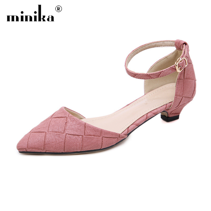 Pink Low Heel Wedding Shoes: Black Pink Gray Pumps Women Low Heel Shoes Fashion Pointed