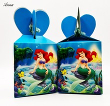 6pcs/lot  the little Mermaid Birthday Party Decorations Candy Box Kids Supplies Favors