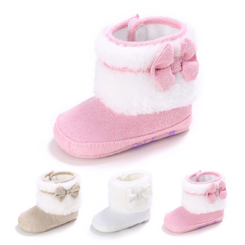 Ideacherry Winter Warm Baby Shoes First Walkers Fleece Snow Boots With Bowknot Booty Crib Babe Girls Toddler Shoes For 0-1 Years