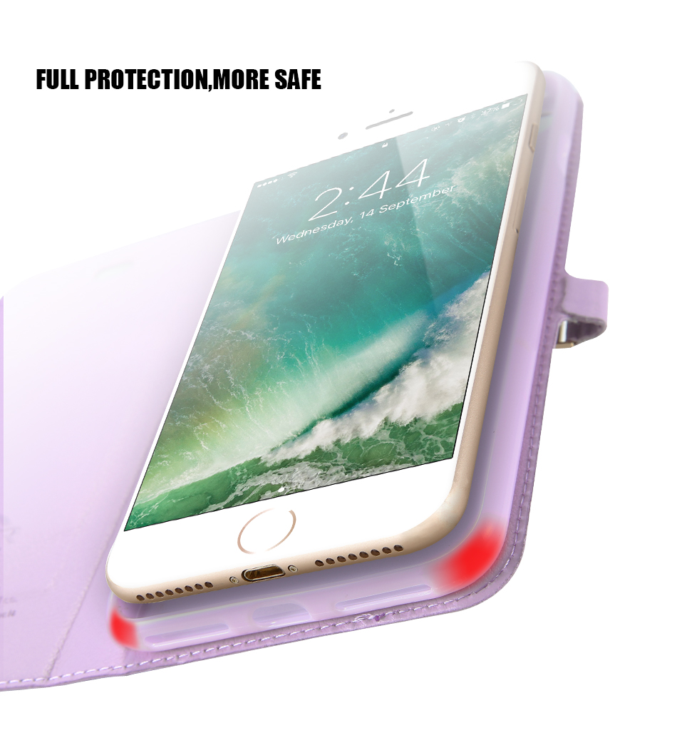 Kisscase candy kolor skóry case dla iphone 7 7 plus odwróć karty portfel slot case pokrywa dla iphone 6 6s plus 5S 5c 4S z logo 6