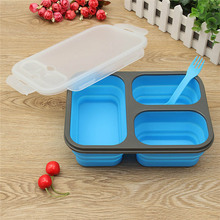 High-capacity Silicone Collapsible Portable Bowl  Folding Food Storage Container Lunchbox Eco-Friendly