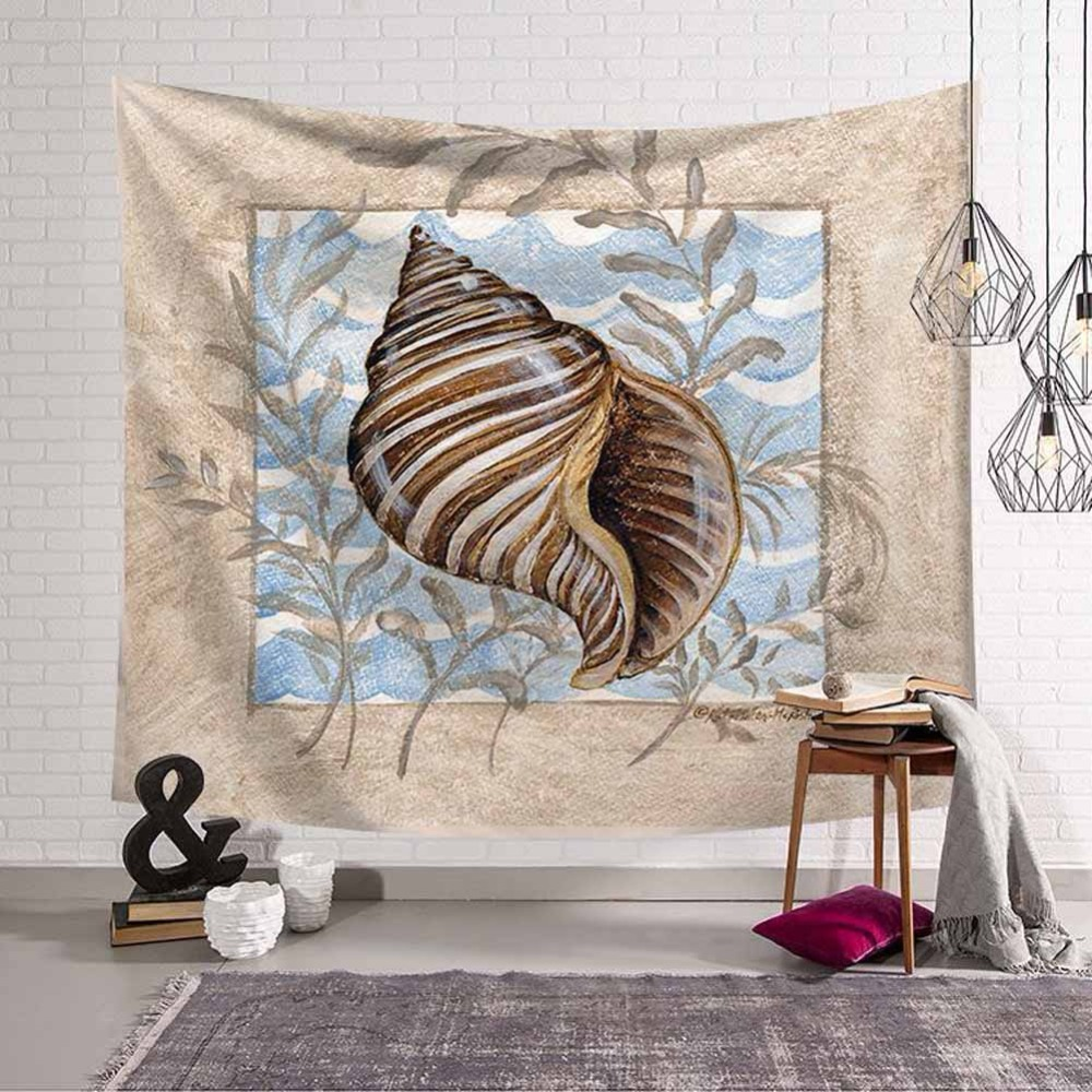 HD Marine Animal Polyester Tapestry Vintage Seahorse Turtle Octopus Whale Retro Wall Hanging Decor Sandy Beach Camping Blanket