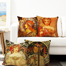 Painting cushion cover gold pattern print pillow case linen material Pillowcase decorative office home sofa chair throw pillows miracille marine style mermaid painting pattern coffee house chair waist decorative cushion cover bedroom throw pillowcase 18