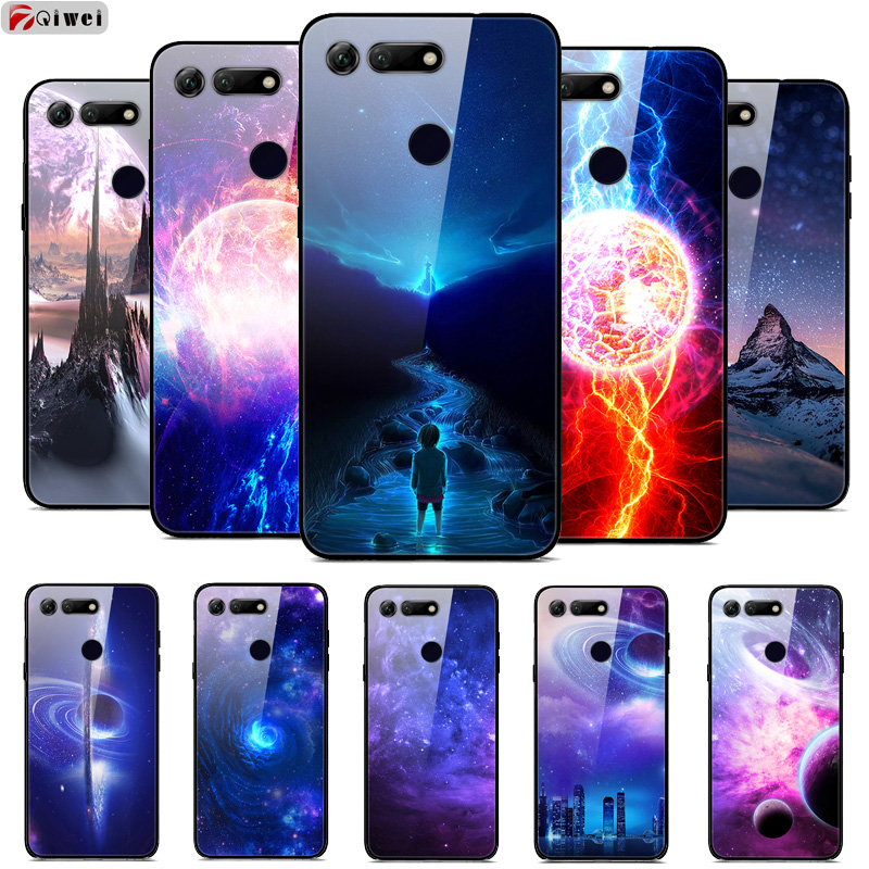 Tempered Glass Hard Back For Funda Huawei Honor View 20 Case Soft TPU Bumper Coque For Huawei Honor 20 Case V20 Viwe20 Cover