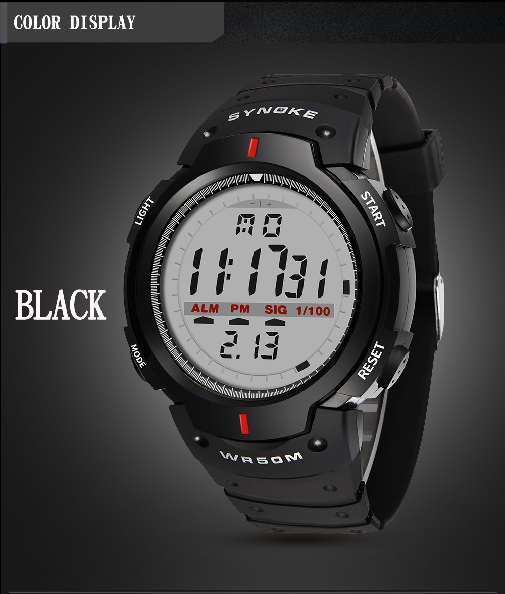 8e29895ebd1 Compre SYNOKE Relógios Homens 30 M À Prova D  Água Eletrônico ...