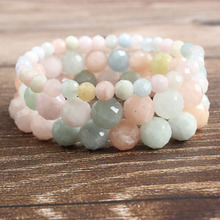 LanLi 6/8/10mm fashion natural Jewelry faceted morganite stone beads Bracelet DIY Charms Men Strand Beads Yoga Women Bracelets