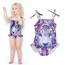 2016 Sexy Kids Girls Cute Tiger Tankini Swimwear One-piece Swimsuit Swimming Costume Age 3-10Y printing