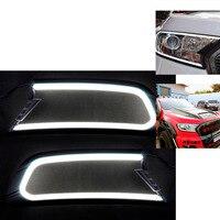 TAIHONGYU LED DRL Daytime Running Light Headlight Lamp Trim Cover for Ford Ranger MK2 Everest 2015 2018