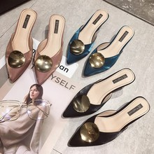 Cremulen 2019 New Style Women Half Slippers Lady Wear Pointed Stiletto Lazy Shoes Fashion Sandals