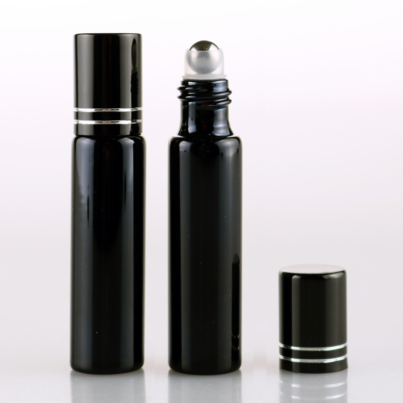 Wholesale 100 Pieces Lot 10ML Refillable Black UV Glass Perfume Bottle With Roll On Empty Essential