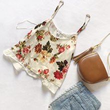 Summer New Arrival Beautiful Women's Floral Chiffon Tops in Vintage Style Short Faux Two-piece Camis with Ruffles in Sweet Style