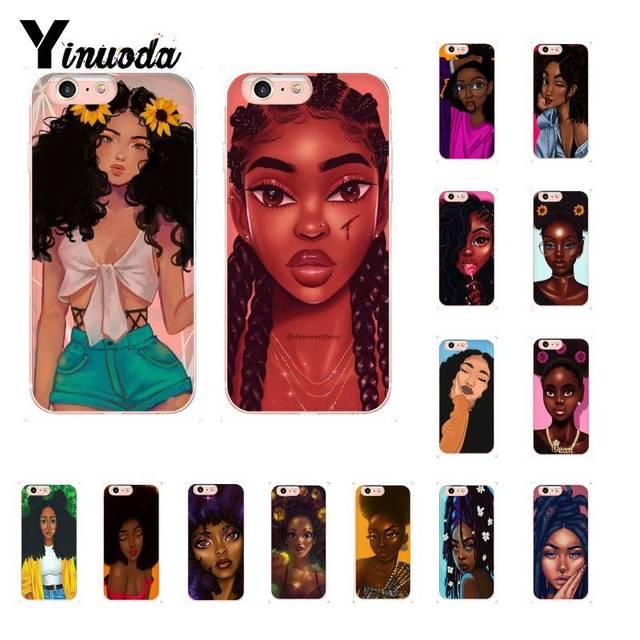 Yinuoda Beleza Africano Afro Puffs Preto Menina Melanina Poppin Aba Caso de Telefone para o iphone X XS MAX 6 6 S 7 7 plus 8 8 Plus 5 5S XR 10