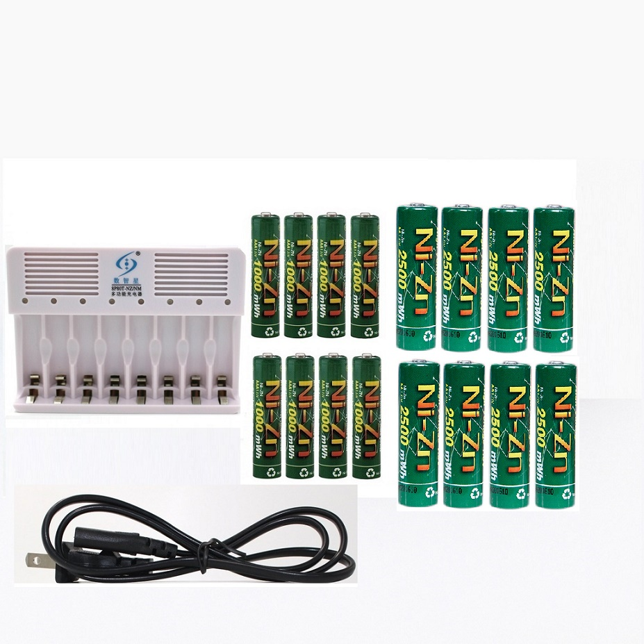 (8PCSAA +8PCS AAA) Ni-Zn 1.6V AA 2500mWh AAA 1000MWH Rechargeable Battery +Ni-Zn NiMH AA AAA battery Charger 4pcs nizn aa rechargeable batteries 2500mwh 1 6v 4pcs 900mwh aaa ni zn rechargeable battery 1pcs ni zn aa aaa battery charger