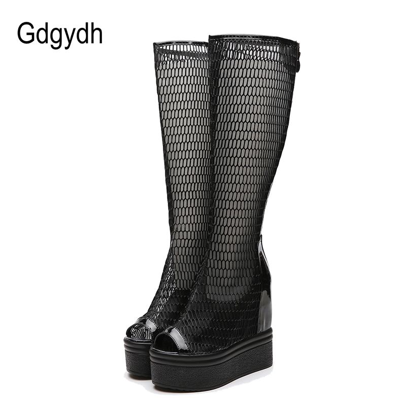 Gdgydh Fashion Air Mesh Boots Women Shoes High Heels Spring Autumn Knee High Boots Zip Wedges Platform Shoes Woman Peep Toe 2018 newest women half knee high motorcycle boots vintage chunky heels spring autumn outdoor platform shoes woman female boots