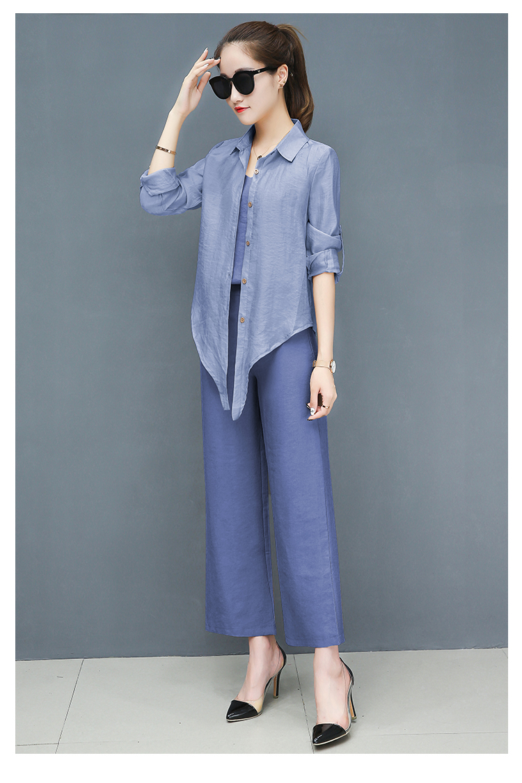 2019 Spring summer women sets office lady elegant chiffon blouse shirts+female wide leg pants trousers pantalon two piece sets 21