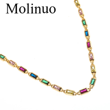 Small Rectangle Colorful Zirconia Stone Choker Necklaces for women Geometric Gold Color Bohemia Chains Necklace Fashion Jewelry цена 2017