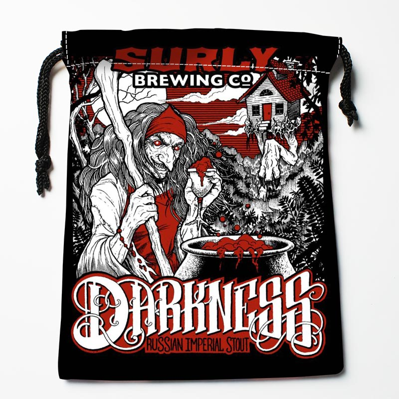 Custom Surly Brewing Darkness Drawstring Bags Custom Storage Bags Storage Printed Gift Bags Size 27x35cm Compression Type Bags