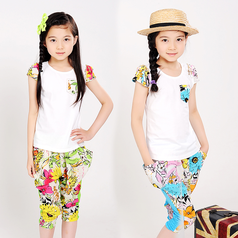 DIDIOO Girls Summer Clothing Sets Print Flower Casual Clothes Sets Infants Short Sleeve T-Shirt+Pants Suits Children Summer Sets kids summer clothes sets for girls striped short sleeve t shirts pants casual clothing cotton children suits girl tracksuits