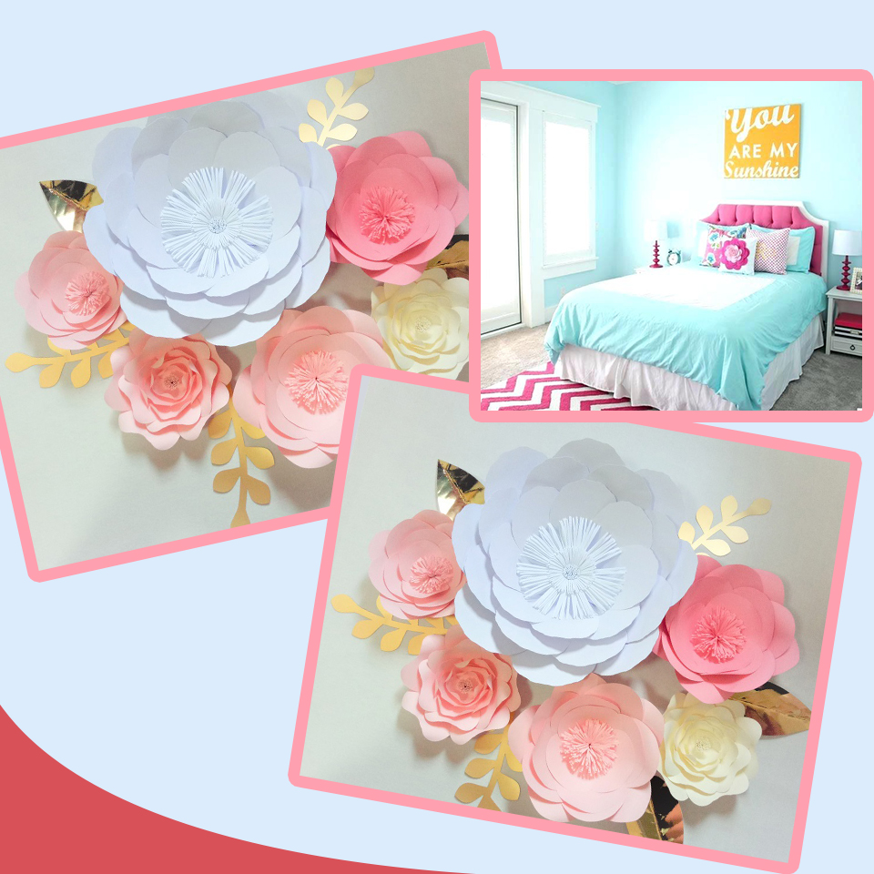 Us 28 99 47 Off 2018 Diy Giant Paper Flowers Backdrop 6pcs Leaves 6pcs Wedding Baby Nursery Bridal Shower Decorations Handmade Video Tutorials In