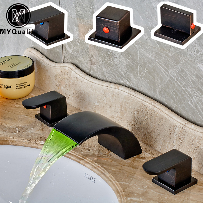 Modern Deck Mounted Oil Rubbed Bronze LED Color Changing Basin Faucet Waterfall Spout RGB Light Bathroom Mixer Taps