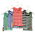 2017 summer baby girls boys 100% cotton casual vest for children red green blue orange kids striped sleeveless undershirt FE218