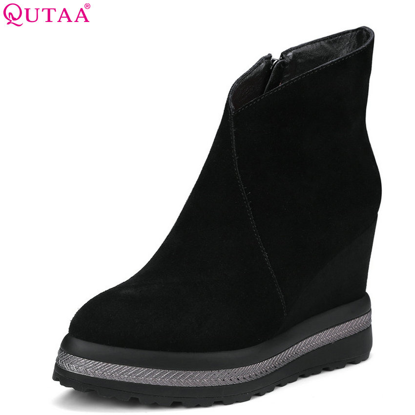 QUTAA 2019 Women Ankle Boots Platform Zipper Pointed Toe Wedges Heel Winter Shoes Women Motorcycle Boots Big Size 34-43 winter black wedges heel platform half boots for woman fashion metal chain lady short boots motorcycle boots size 34 43