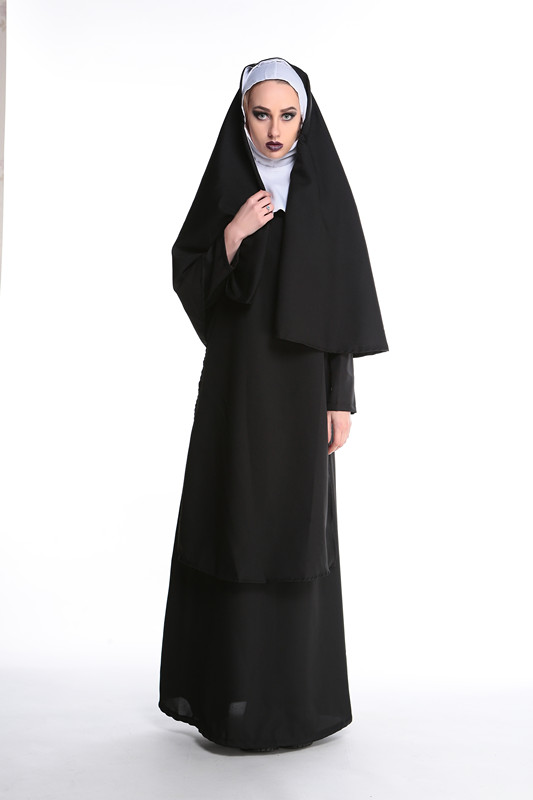 Sexy Black Nun Missionary Costume Halloween Adult Cosplay Dress Fancy Dress 89171