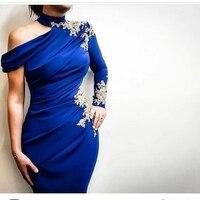 Новое поступление одно плечо с длинным рукавом вечернее платье 2019 Королевского синего цвета Вечерние платья кружева бисером торжественное