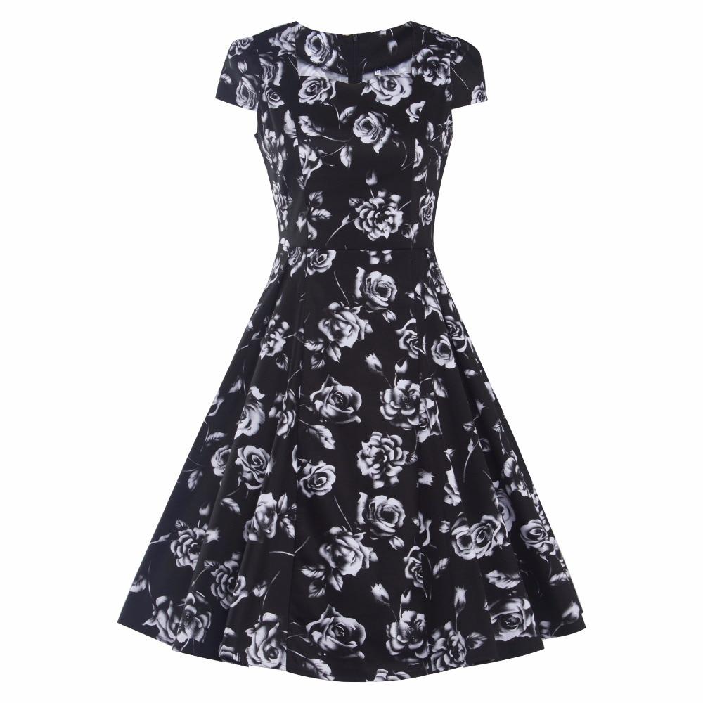 Audrey Hepburn style square neck rose print vintage dress robe vestidos women casual rockabilly party retro 50s 60s dresses Платье