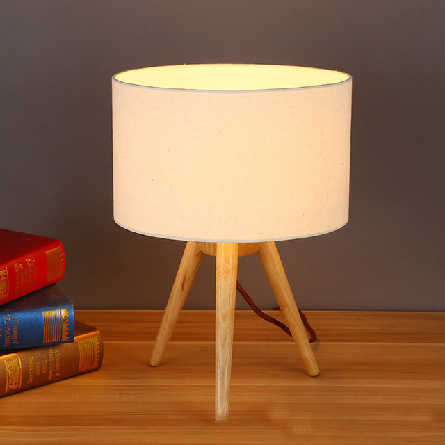 E27 Nordic Brief Tripod Wood Table Lamps Bedroom Wooden Bedside LampStudy  Room Fabric Lampshade Led Table