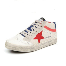 Spring Autumn Korean Style Stars Retro Canvas Shoes Women Lace up Thick Rubble Sole Casual White Shoes Restoring ancient ways
