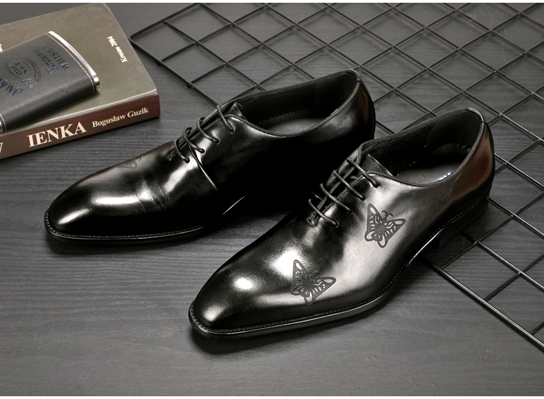 Men`s Leather Casual Shoes Business Mens Genuine Leather Moccasins Men Oxfords Shoe Office Casual Leather Shoes Men Big Size 45 (6)
