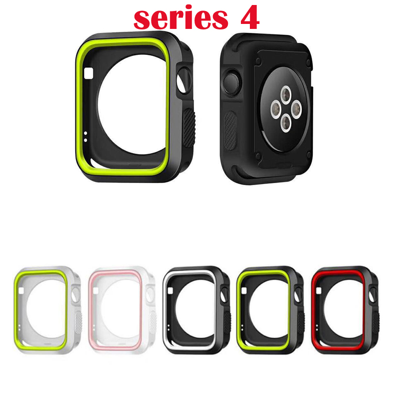 new Sports Silicone Cover Frame Soft Rubber Full Protector Protective Case For Apple Watch For iwatch 4 40mm 44mm Nike pattern