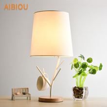 AIBIOU Designer LED Table Lamps With Cloth Lampshade For Living Room White Reading Bedside Lighting Wood Desk Lights
