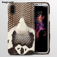 wangcangli Brand genuine snake skin phone case For iphone 8 phone back cover protective case leather phone case