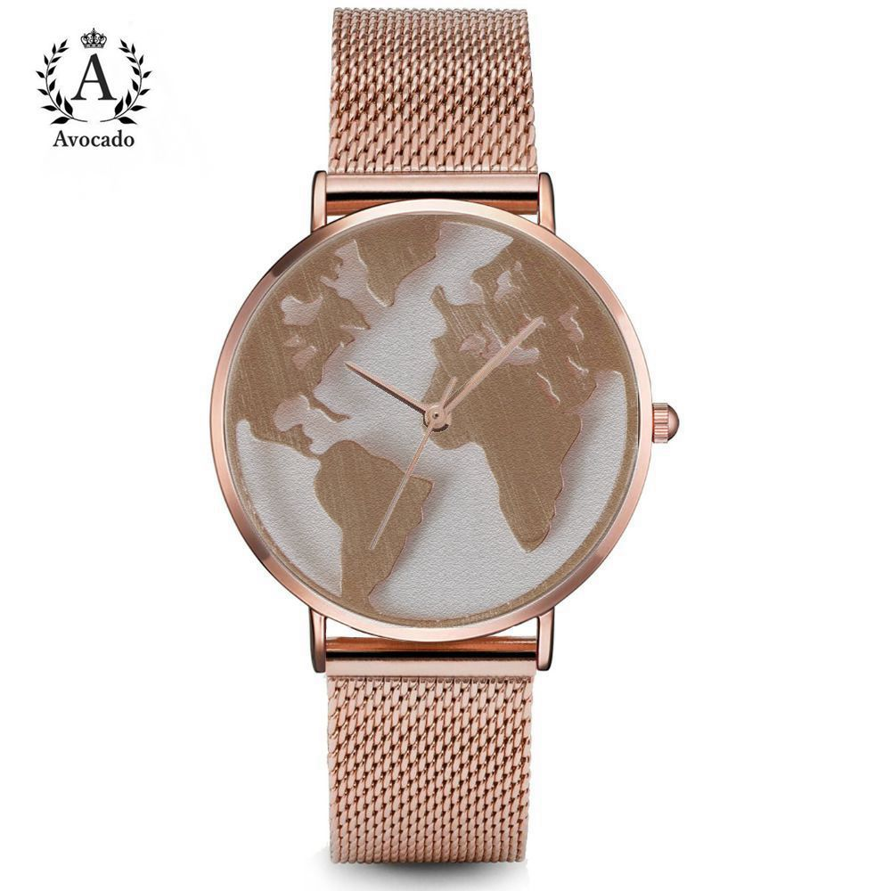 AVOCADO Hot Sale World Fashion Quartz Watch Map Airplane Travel Around The World Women Watches Wristwatches alloy strap image